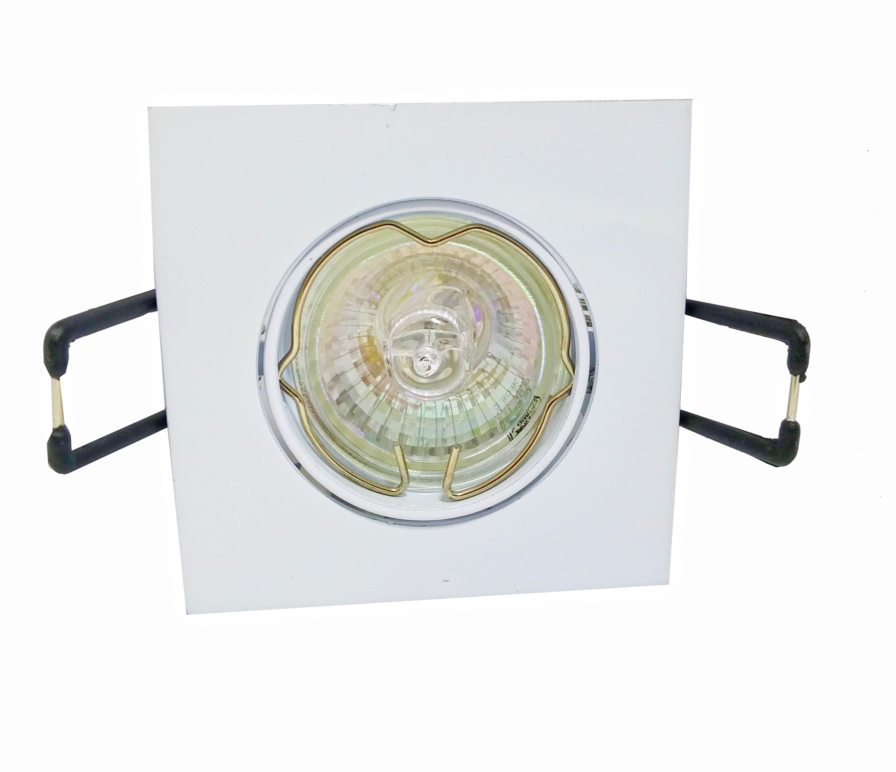 CONJUNTO -Lâmpada Mini Dicróica Halógena (Sem reator) GU10+Spot Basculante Alumínio Zamac Mini Quadrado
