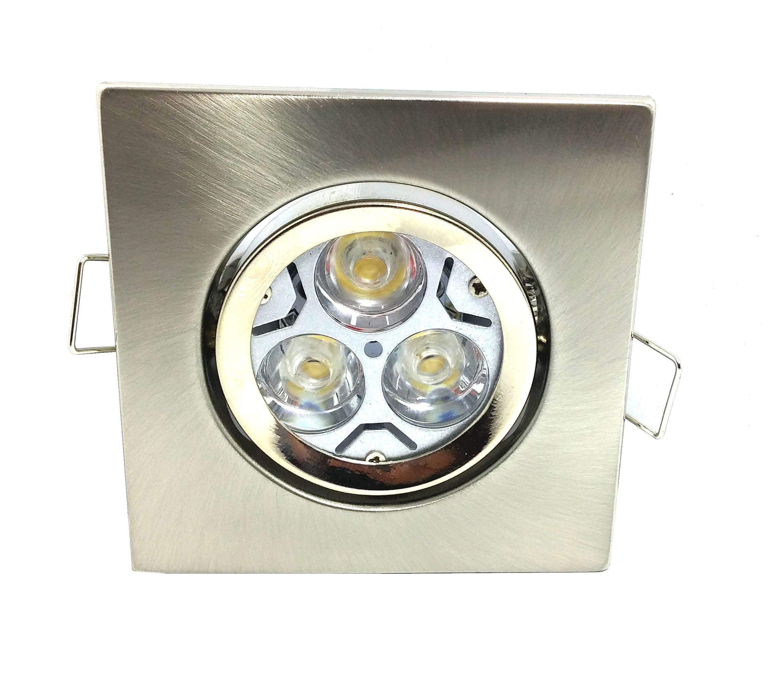 Conjunto Spot Quadrado Níquel ferro Basculante com Soquete GU10 + Lâmpada 3 POWER LEDs BIVOLT GU10 3W