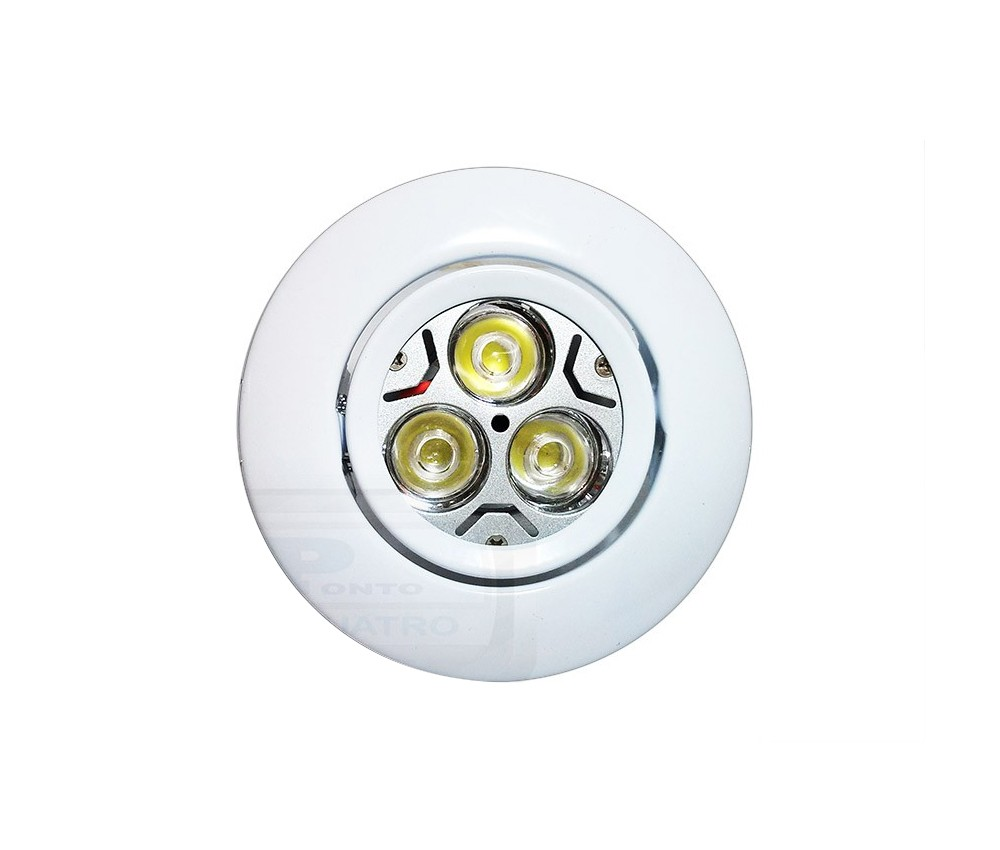 CONJUNTO   Lâmpada 3 POWER LEDs BIVOLT GU10 + Spot de Embutir Ferro Redondo Basculante