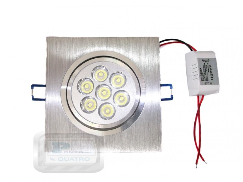 Luminária 7 POWER LEDs Embutir Quadrada 8,5W