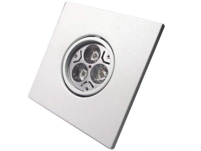 CONJUNTO - Lâmpada 3 POWER LEDs BIVOLT GU10 + Spot Quadrado Sistema Click em Alumínio Fundido com Pintura Eletrostática