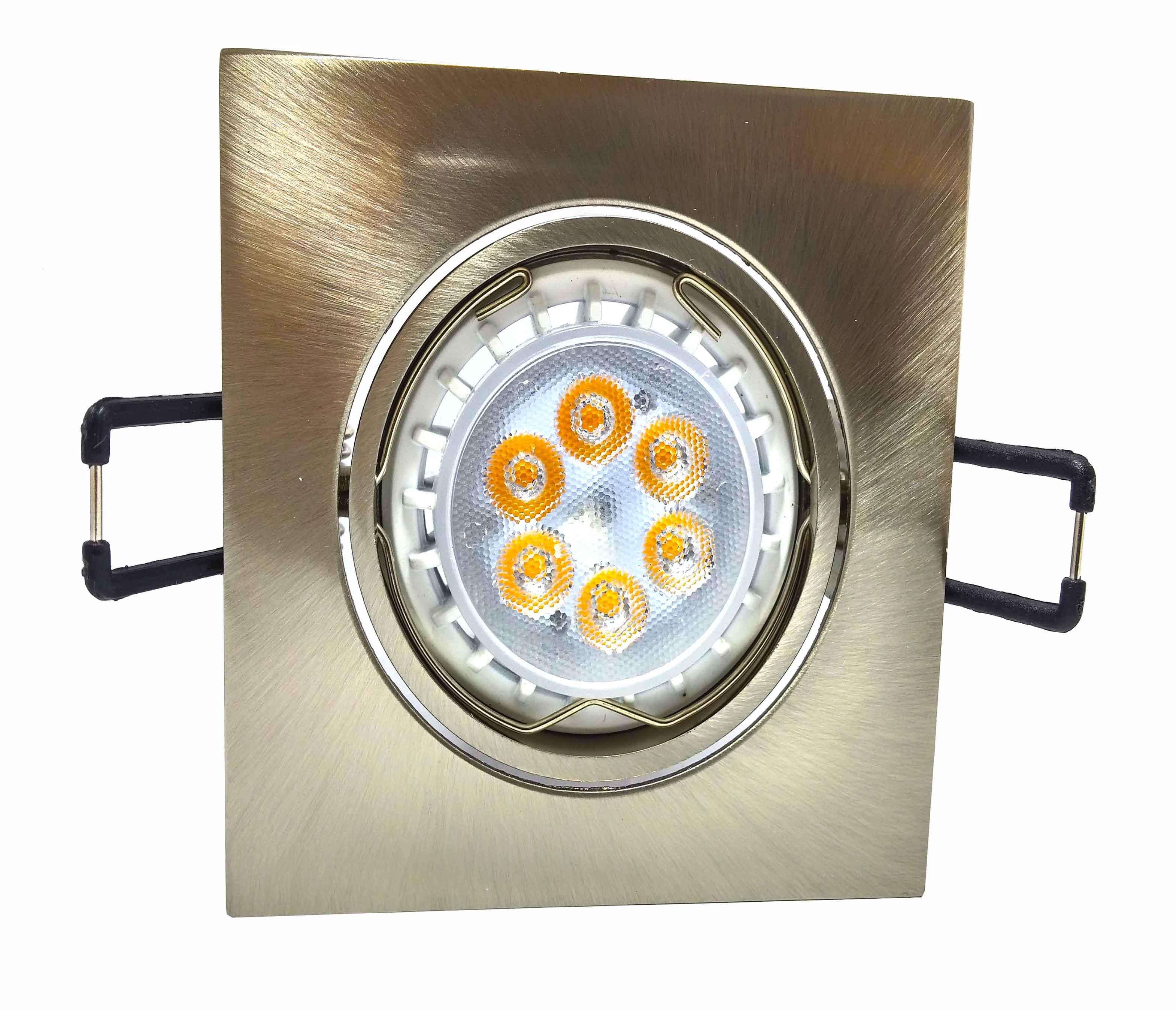 Conjunto Spot de Alumínio Zamac Basculante com Soquete GU10 Quadrado - Níquel + Lâmpada 8W GU10 6 Power LEDs Linha Exclusiva - BIVOLT