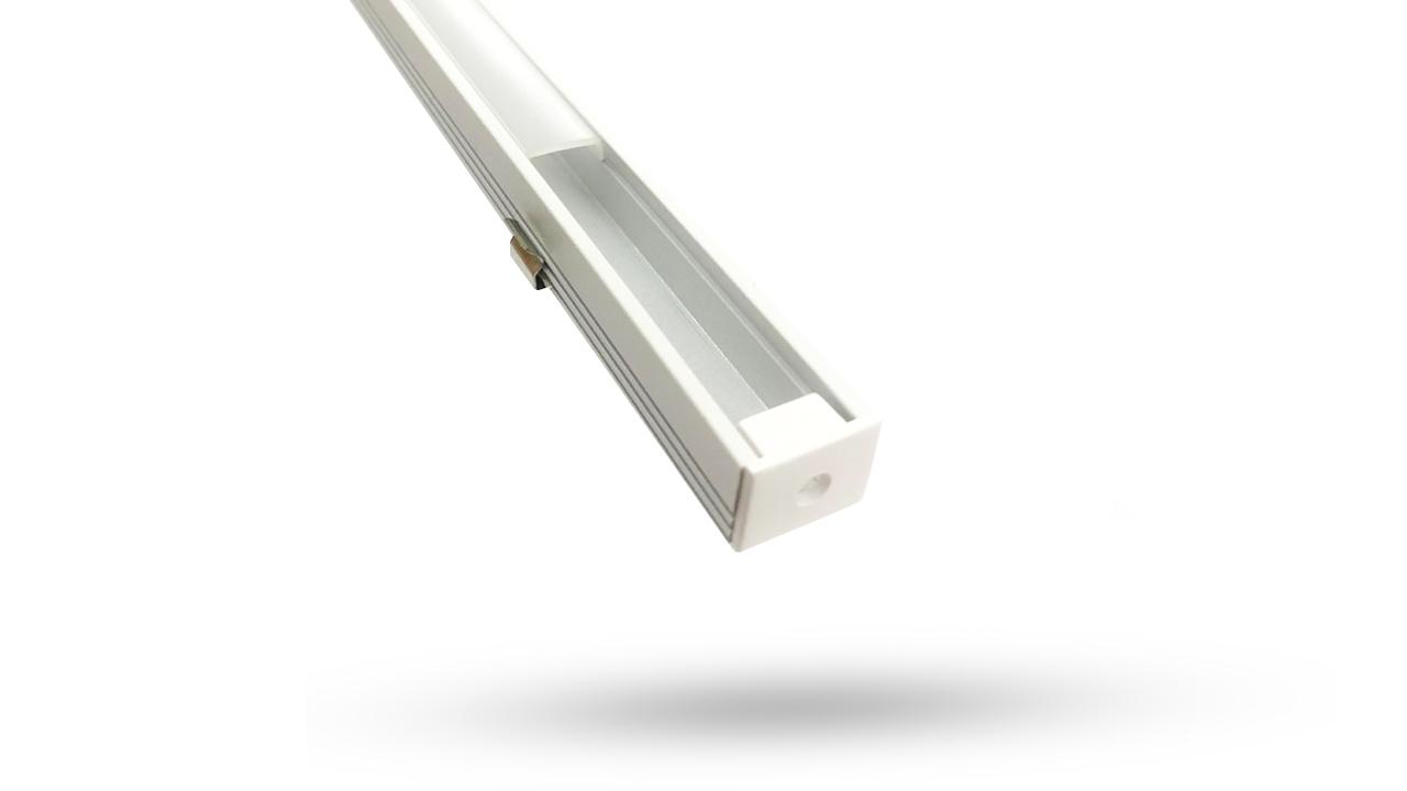 Perfil de Alumínio para fita de LED - Sobrepor 3 metros - 12.1mm - Branca