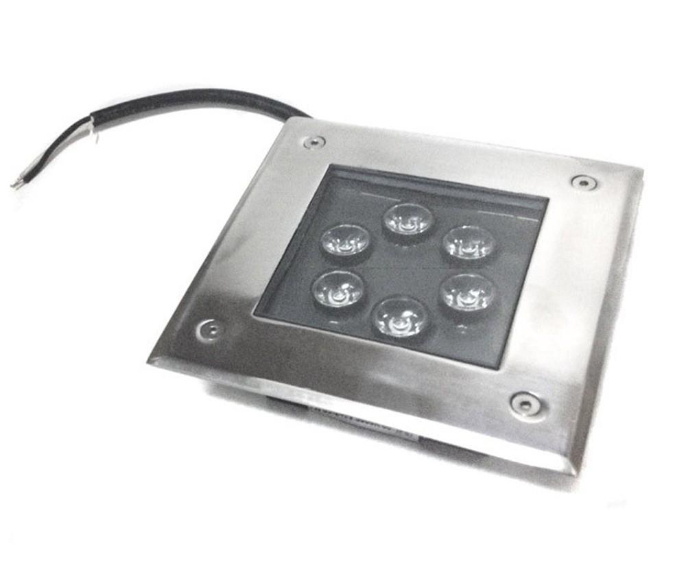 Spot Blindado de Embutir no Chão BIVOLT - Quadrado 6 POWER LED's 7W - EXTERNO (Spots)